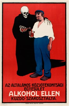 """Alcohol can kill,"" is the main message of this Hungarian alcoholism poster, which depicts Death luring a man into drinking."
