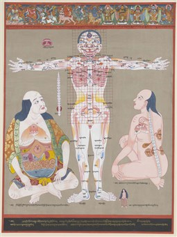 Anatomy of vulnerable points: This tangka depicts the points of the body that are most vulnerable to injury and disease. The figure in the center shows the vulnerable blood vessels, muscles, and bones, while the figures sitting down on either side show the vulnerable internal organs such as the heart, liver, lung, and spleen.