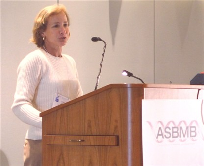 Cheryl Kerfeld speaks at faculty workshops held at the Department of Energy's Joint Genome Institute (JGI) for training in bioinformatics and the Integrated Microbial Genomes Annotation Collaboration Toolkit (IMG-ACT) system.