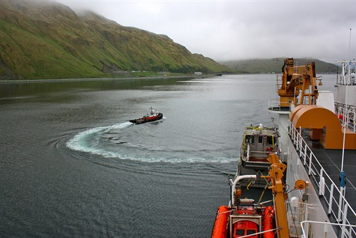 "On June 25, 2011, a tug boat headed back to Dutch Harbor, Alaska, after guiding the U.S. Coast Guard Cutter Healy away from port as part of the ICESCAPE mission, or ""Impacts of Climate on Ecosystems and Chemistry of the Arctic Pacific Environment."""