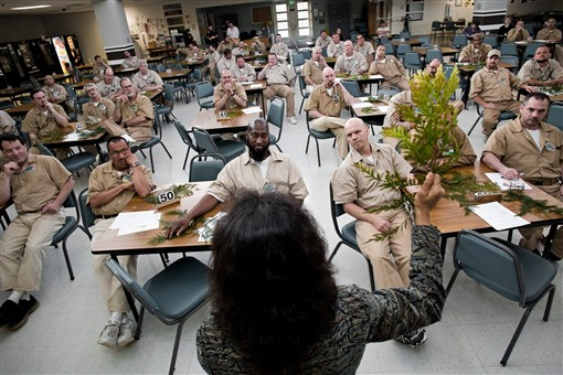 Nalini Nadkarni delivers a lecture on tree biology to 100 inmates at the Stafford Creek Correctional Center.