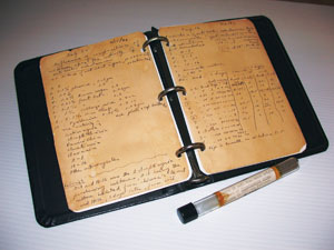 <figcaption>Selman Waksman's exact replica of his notes on experiments, showing the antagonistic properties of streptomycin against microorganisms, (April 1943) Credit: Courtesy of Terry Sharrer</figcaption>