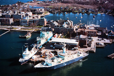 Arrayed around the Woods Hole Oceanographic Institution dock in Woods Hole, Mass. are the three ocean-going WHOI research vessels, which travel the globe year-round.