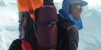 On route to medical camp in Mt. McKinley, Willman carries a 25-kilo load that includes three-week's worth of food and supplies, research equipment, and dystrophic flies and worms.  Courtesy of Gabriel Willmann