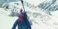 Robert Roach climbing Mt. McKinley during a 1989 expedition where he studied how Acute Mountain Sickness relates to breathing control. Elevation: 15,000 feet.
