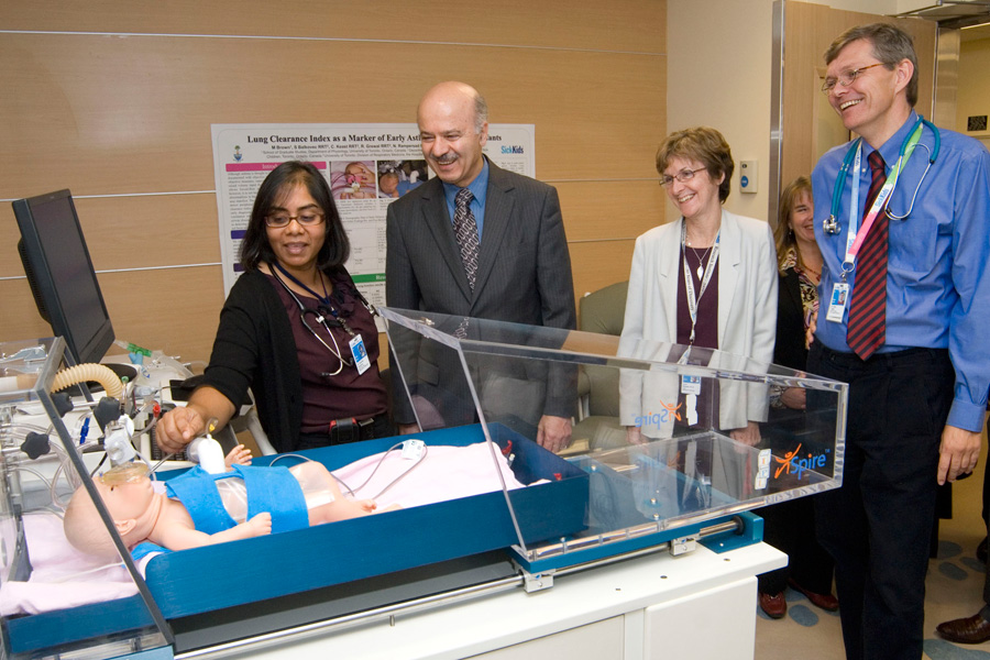 Representatives from Hospital for Sick Children, #7 among international institutions this year, and members of the Ontario government tour the Physiological Research Unit at SickKids.SickKids