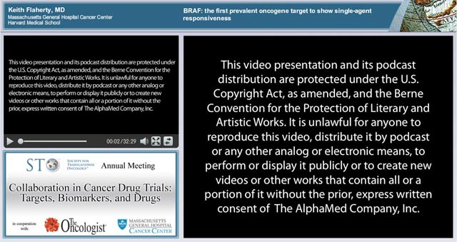 AlphaMed Press, publisher of THE ONCOLOGIST® and THE ONCOLOGIST COMMUNITYSM website, grants The Scientist permission to provide this video link to Keith T. Flaherty's lecture,