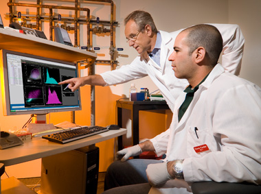 Steven Kauder (right) and Eric Verdin examine HIV DNA in the Flow Cytometry Lab at this year's #1 US institution, The J. David Gladstone Institutes. Watch slideshow of this year's finalists.