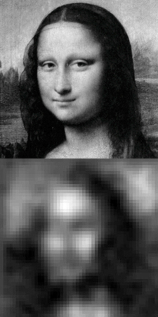 Image of the Mona Lisa (top), and reconstructed by the PFCA (bottom)