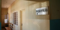Sign at the Korogwe district hospital pointing to the malaria laboratory (in Swahili).