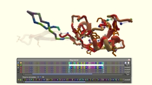 A Foldit screenshot of a protein puzzle posed to Foldit players.