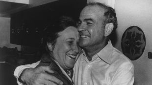 Blumberg celebrating the news of his Nobel Prize in 1976 with his wife Jean.
