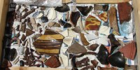 Native American artifacts and British pottery shards, estimated to be between 100 and 600 years old, collected by the Lost COlony Research Group on Hatteras Island. roberta estes