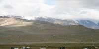Camp site by the Altai Mountains