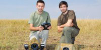 Will and Matt Burrard-Lucas with the BeetleCams in Masai Mara, Kenya.