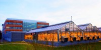 The Donald Danforth Plant Science Center, shown with greenhouses, took the 8th spot in the Best Places to Work for Postdocs in the USA.
