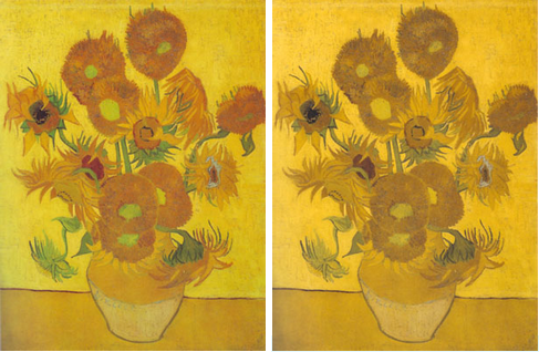 One of Van Gogh's sunflower paintings: Original (left) and Colorblind-simulated (right)