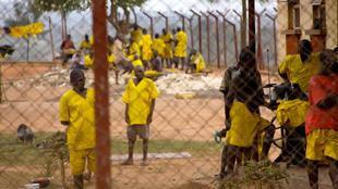 Prisoners in the yard at Muinaina Farm Prison in Mubende, Uganda