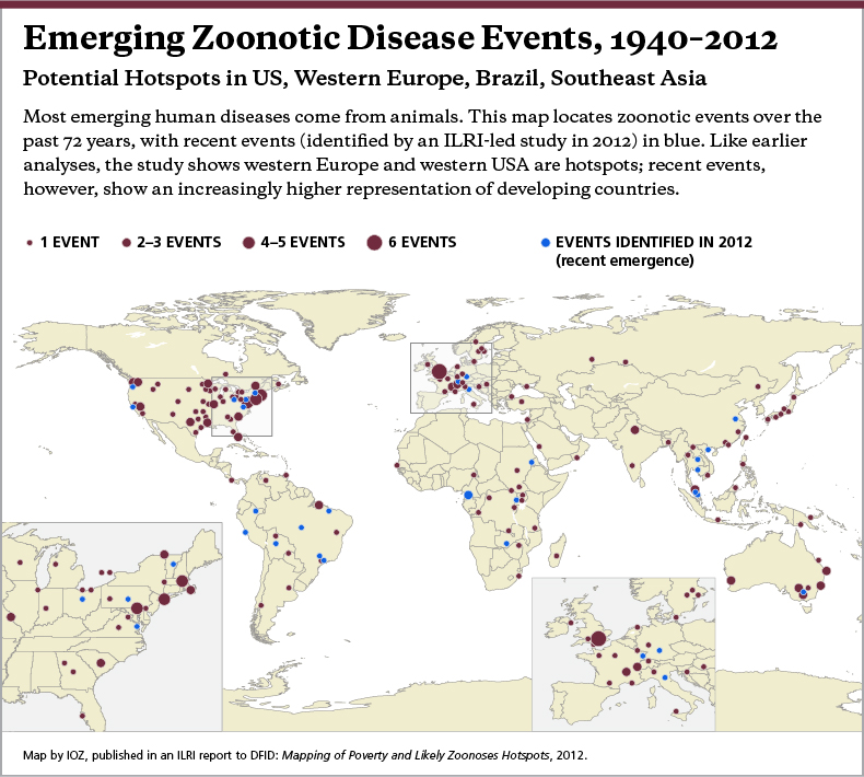 Emerging Zoonotic Disease Events, 1940-2012 This maps locates zoonotic events over the past 72 years, with recent events in blue. Like earlier analyses, the study shows western Europe and western USA are hotspots. Recent events, however, show an increasingly higher representation of developing countries.