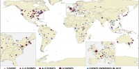 Emerging Zoonotic Disease Events, 1940-2012This maps locates zoonotic events over the past 72 years, with recent events in blue. Like earlier analyses, the study shows western Europe and western USA are hotspots. Recent events, however, show an increasingly higher representation of developing countries.INTERNATIONAL LIVESTOCK RESEARCH INSTITUTE