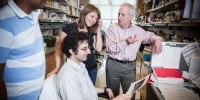 David Ginsburg with students in his lab at the Life Science Institute at the University of Michigan (#16). Ginsburg, a geneticist and MD, studies families with bleeding disorders to understand the genes and biomolecules that control the blood-clotting response, stroke, and heart disease.The Life Sciences Institute