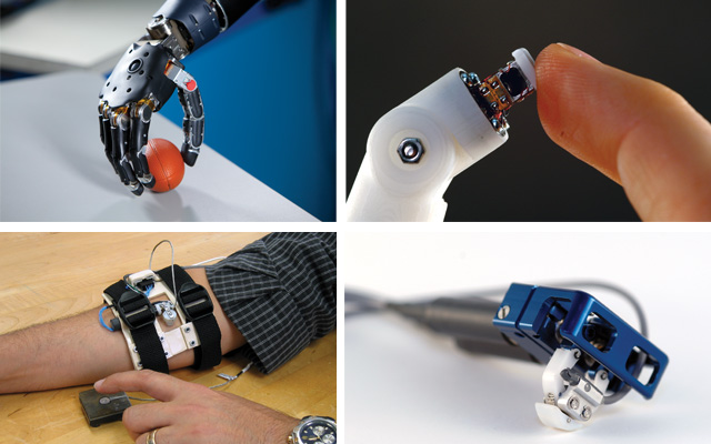 "TOUCH THIS: A motorized tactor developed by Kinea (bottom right) mechanically stimulates an alternative body surface (bottom left) to ""playback"" the sensations picked up by fingertip sensors (top left) of a prosthetic hand. The Modular Prosthetic Limb (top right and featured image), developed by the Johns Hopkins Applied Physics Laboratory, uses the Kinea sensors in its fingertips."